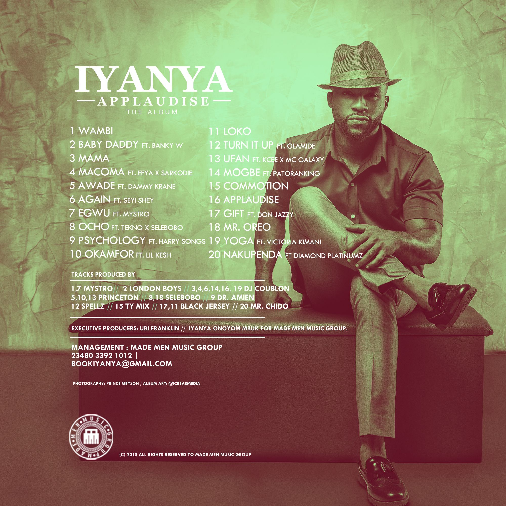 "Iyanya ""Applaudise"" Album Artwork + Tracklist Me too"