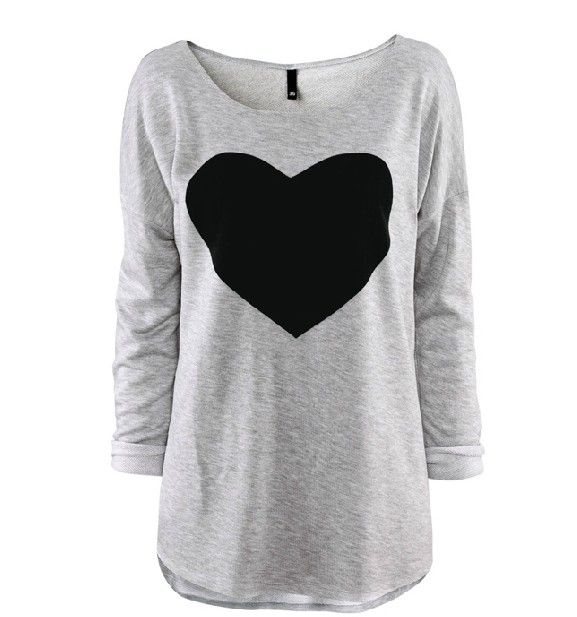 Heart-shaped pattern long sleeve T-shirt m03208