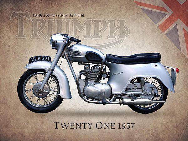 Triumph Twenty One 1957 Art Print By Mark Rogan Triumph Bikes Triumph Triumph Motorcycles