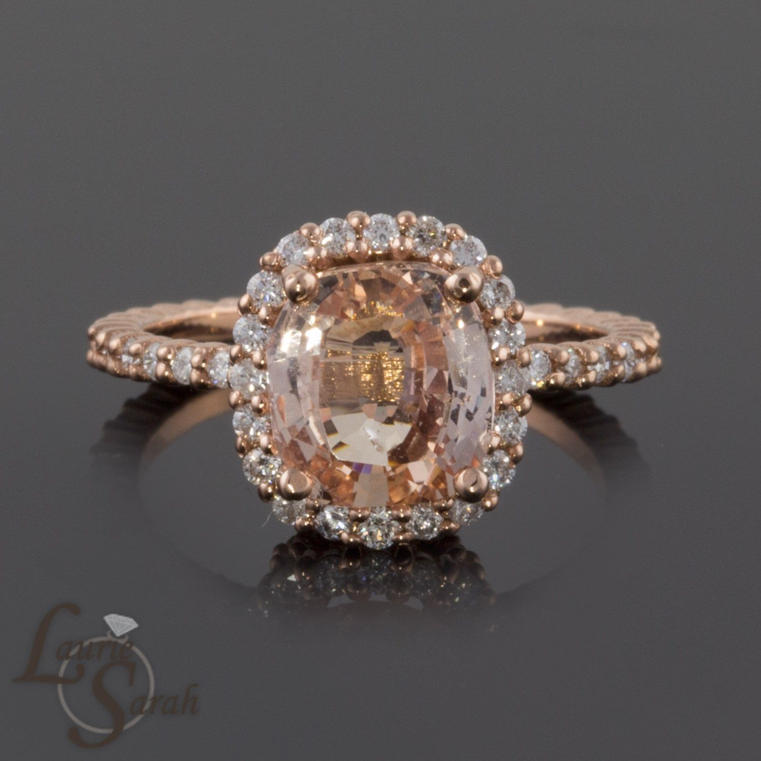 Rose gold engagement ring oval cushion cut pink sapphire