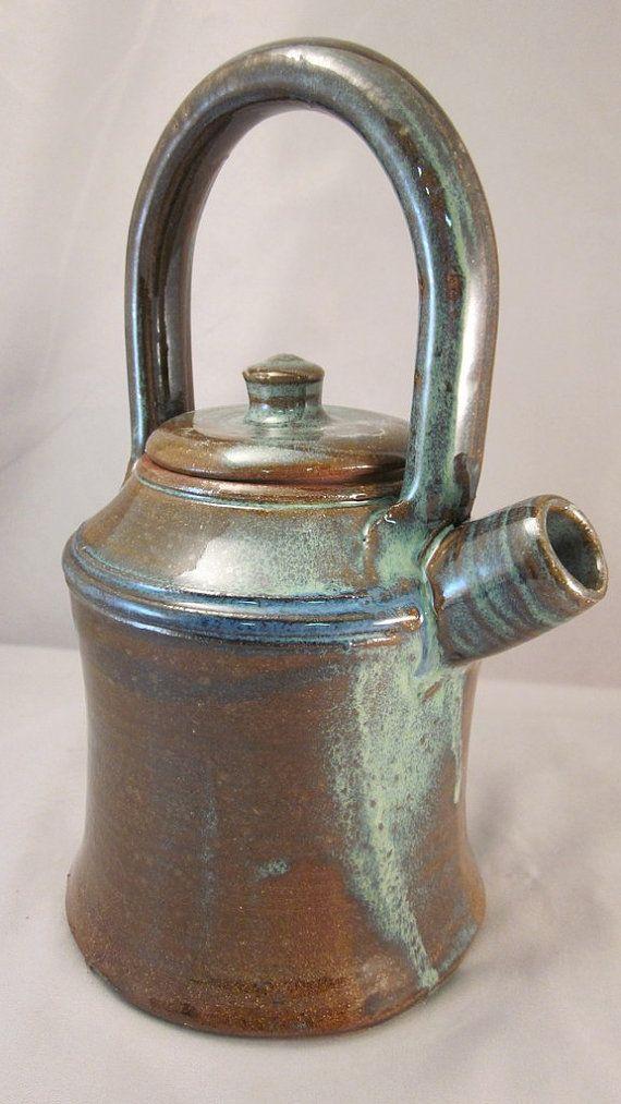 Teapot- Celadon Green/Brown