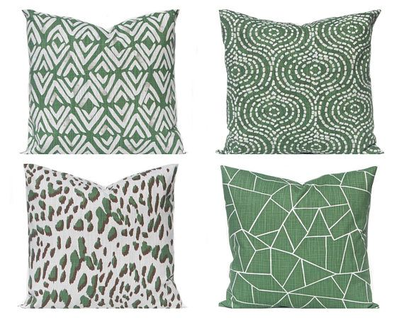 Pillow Cover Dark Green Throw Pillow Cover Green And White