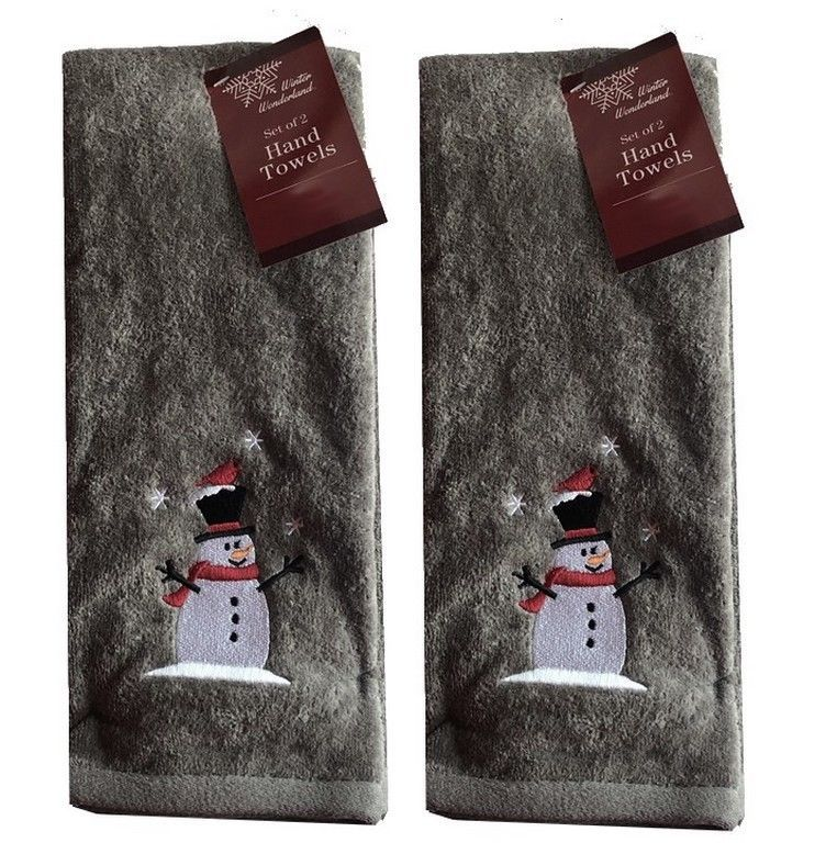 Deer Winter Scene Snow SET OF 2 HAND TOWELS EMBROIDERED BY LAURA