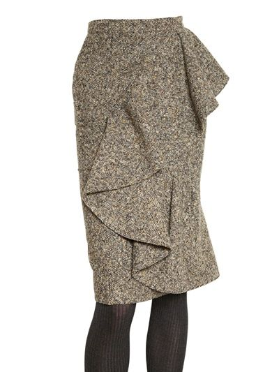 BURBERRY PRORSUM - RUFFLED VIRGIN WOOL TWEED SKIRT