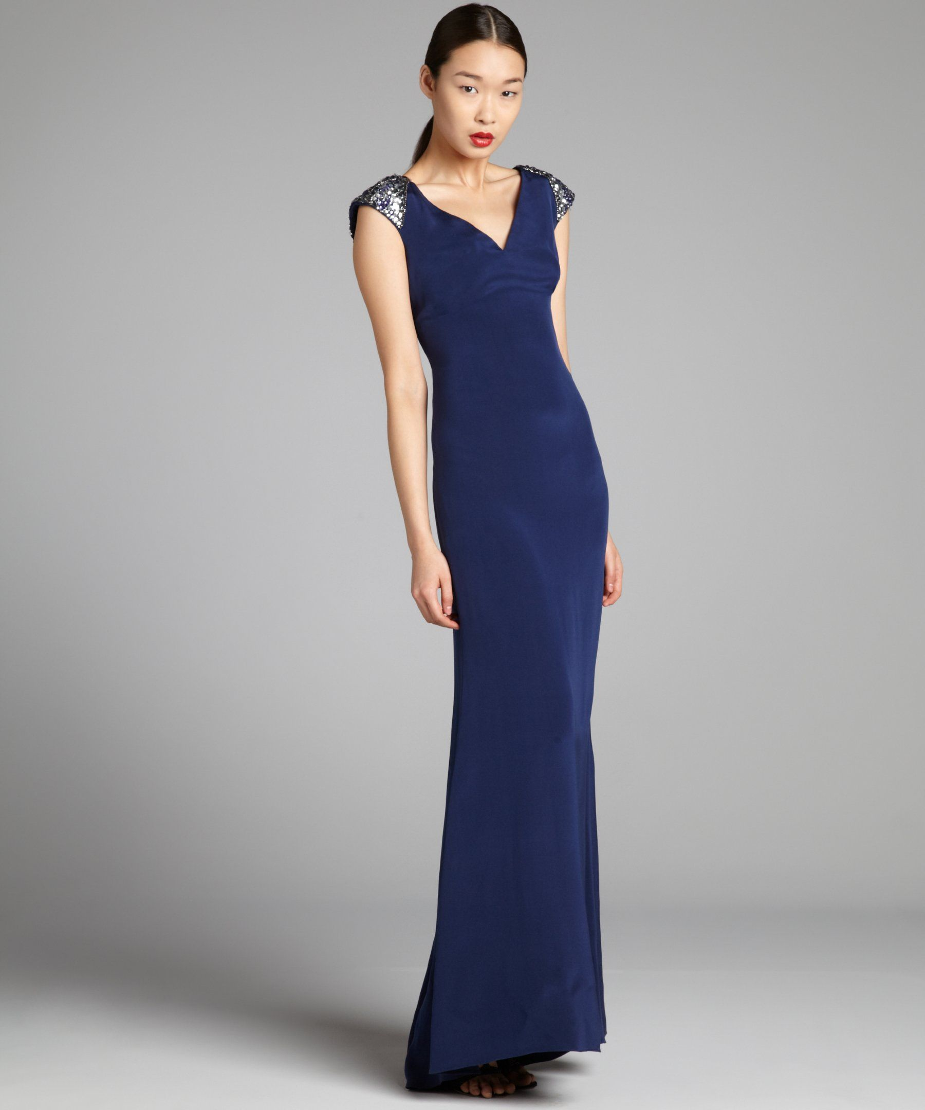 Notte by marchesa navy silk jewel embellished cap sleeve gown