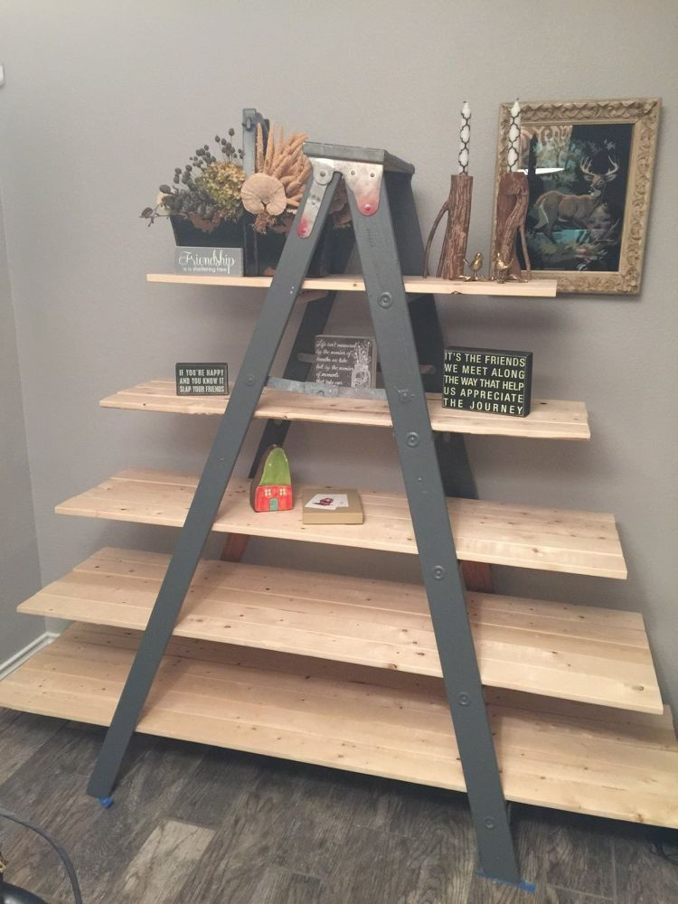 Old Wooden Ladder Transformed Into A Country Chic Shelf Old Wooden Ladders Ladder Decor Decor
