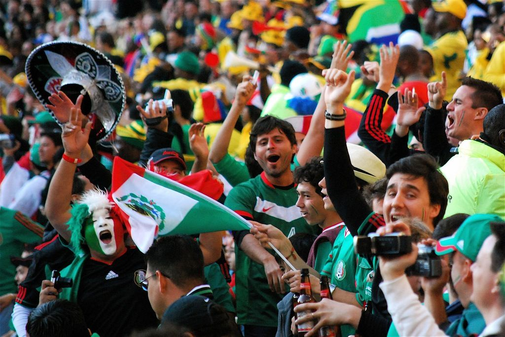 Mexican fans. Fun group Sport event, Mexico city, World cup