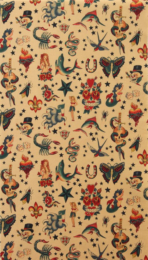 Alexander Henry Fabric Old School Tattoo Tea Tan By Voodoobetty