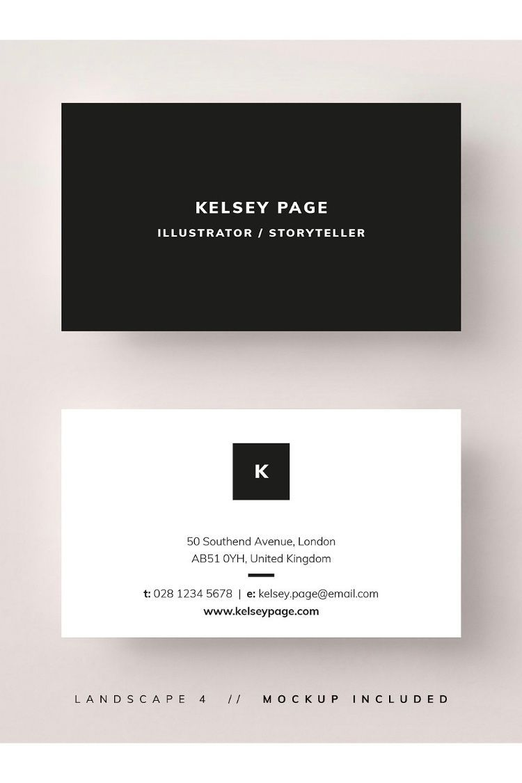 The Astounding Business Card Template Mockup Kelsey A Minimal With Template For Calling Business Card Typography Business Card Design Calling Card Design