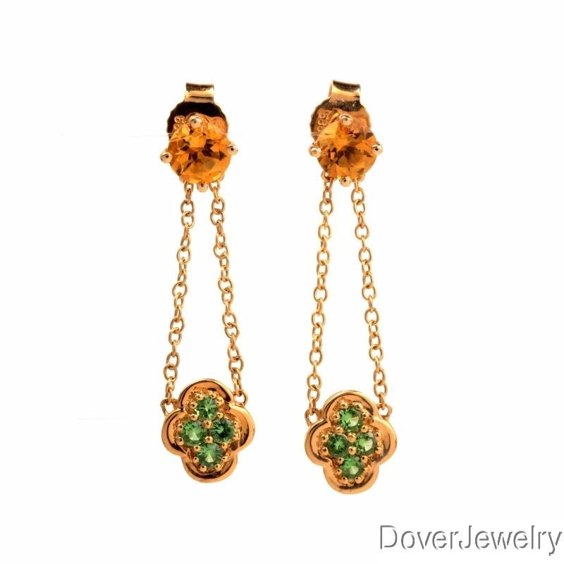 Estate 1 22ct Tsavorite Citrine 14k Gold Drop Dangle Earrings | eBay