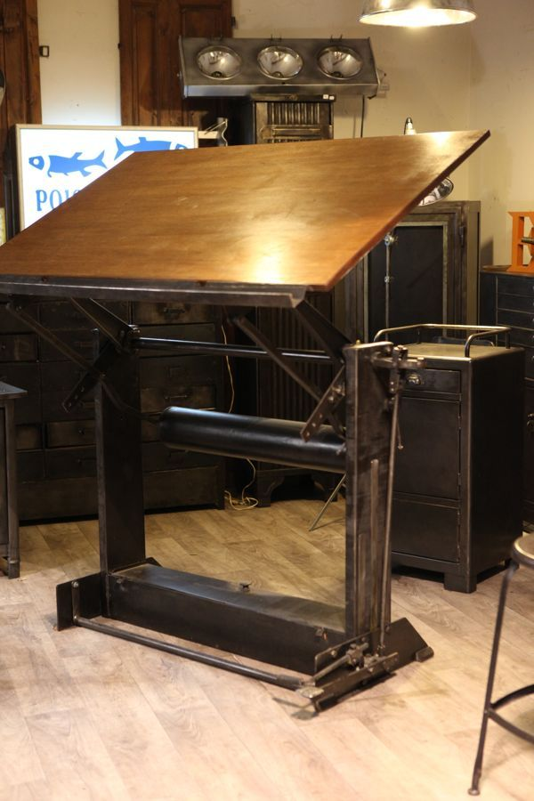 meuble de metier industriel table a dessin ancienne unic deco loft table dessin et co. Black Bedroom Furniture Sets. Home Design Ideas