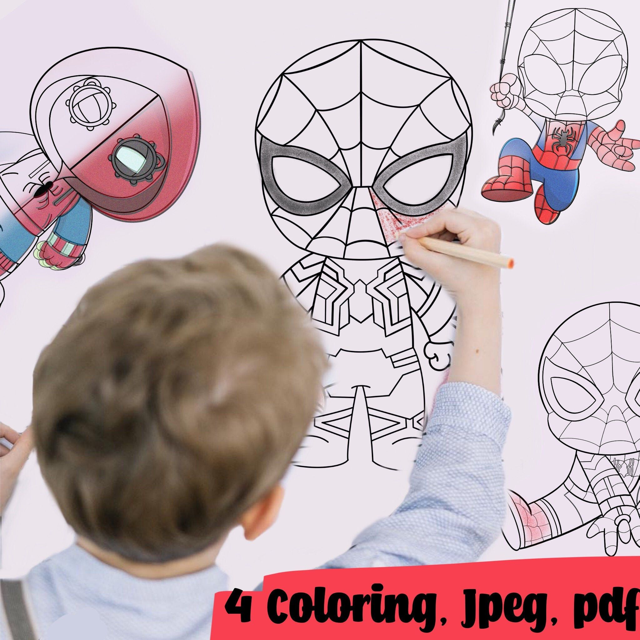 Coloring Pages Spider Man 4 Of Set Paper Game For Kids Etsy Paper Games For Kids Spiderman Illustrations Kids