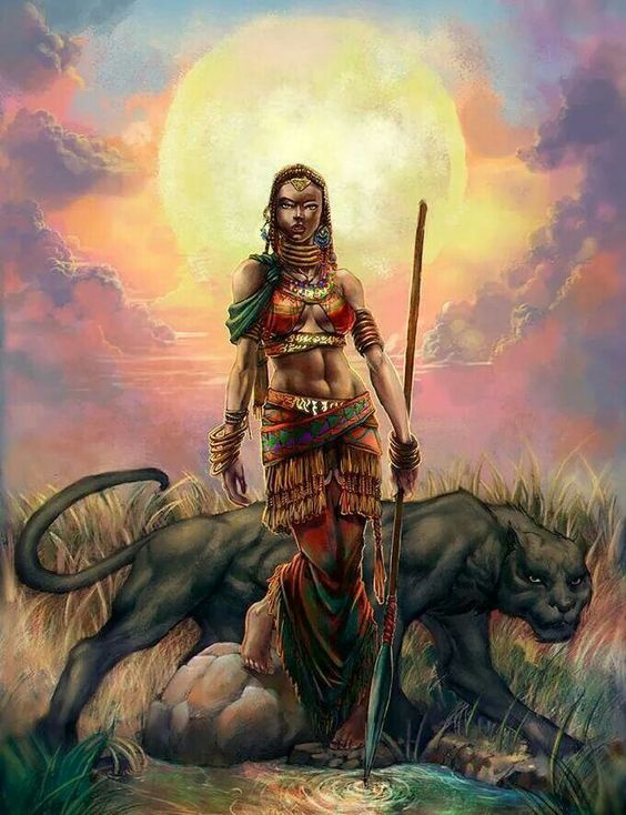 African Female Warrior And Black Planther African Beauty Female