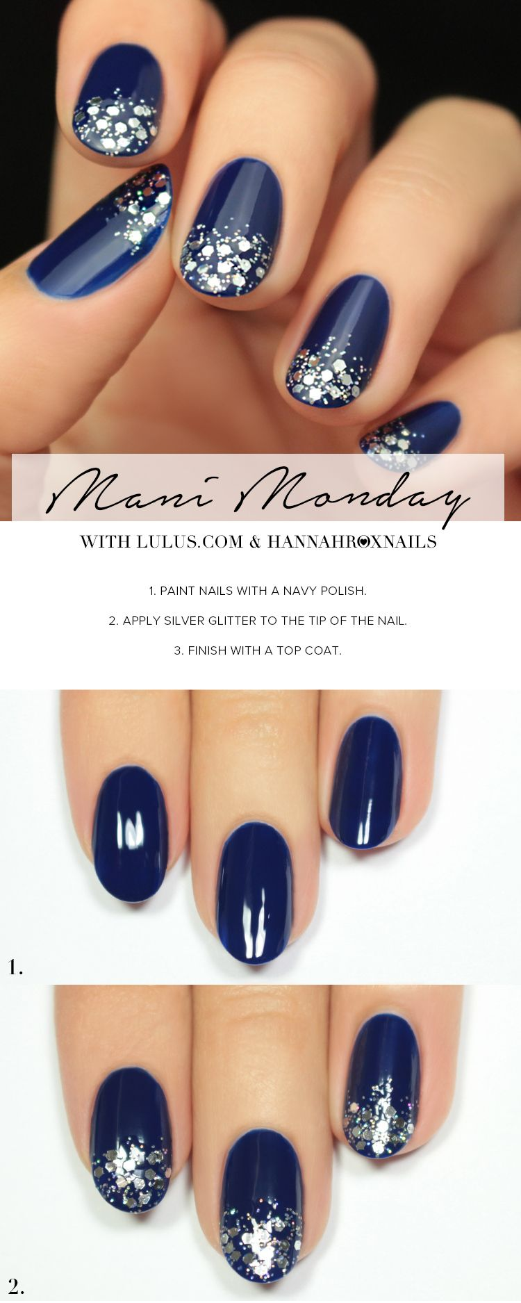 Mani monday navy blue and silver glitter nail tutorial lulus