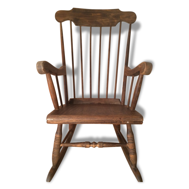 rocking chair en bois bois mat riau marron bon tat vintage 18194 rocking chairs. Black Bedroom Furniture Sets. Home Design Ideas