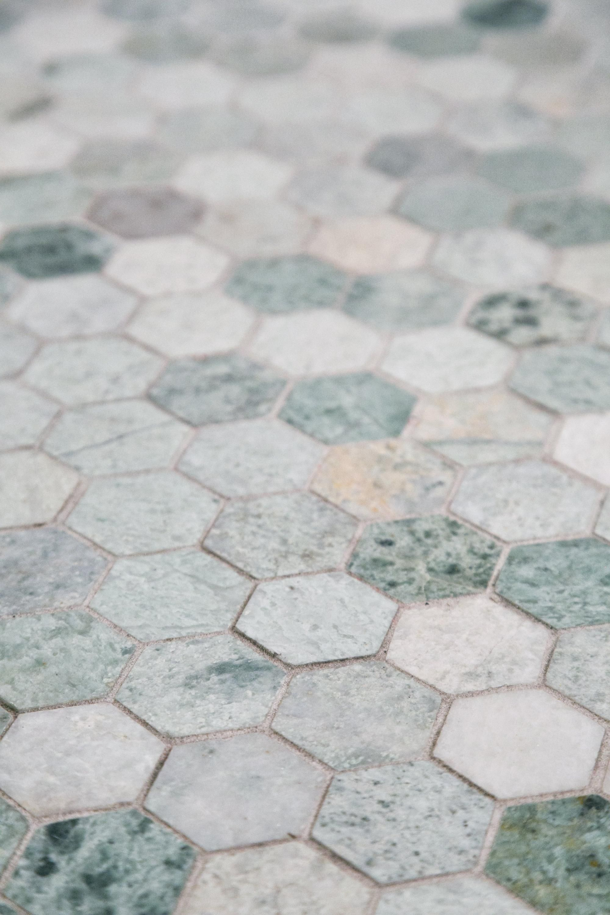 Caribbean Green Hexagon Marble Mosaic Floor Decor Marble Mosaic Mosaic Flooring Green Bathroom