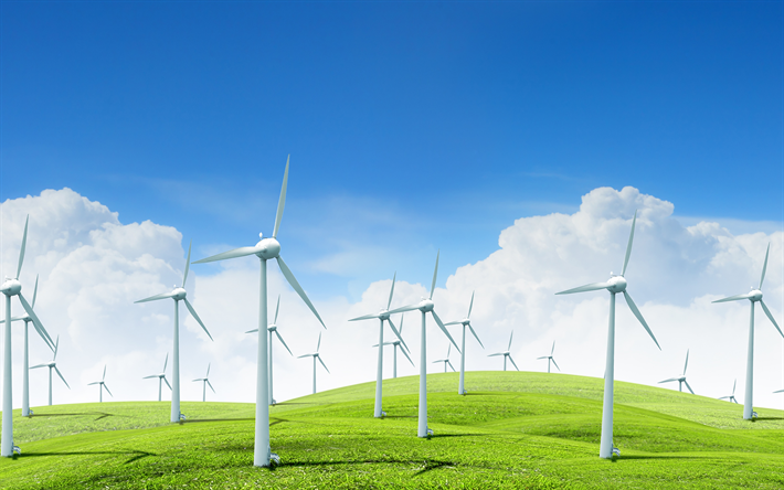 Download Wallpapers Wind Power Stations Alternative Energy Sources Wind Energy Electricity Green Energy Concepts Ecology Environment 4k Besthqwallpapers Alternative Energy Alternative Energy Sources Wind Energy