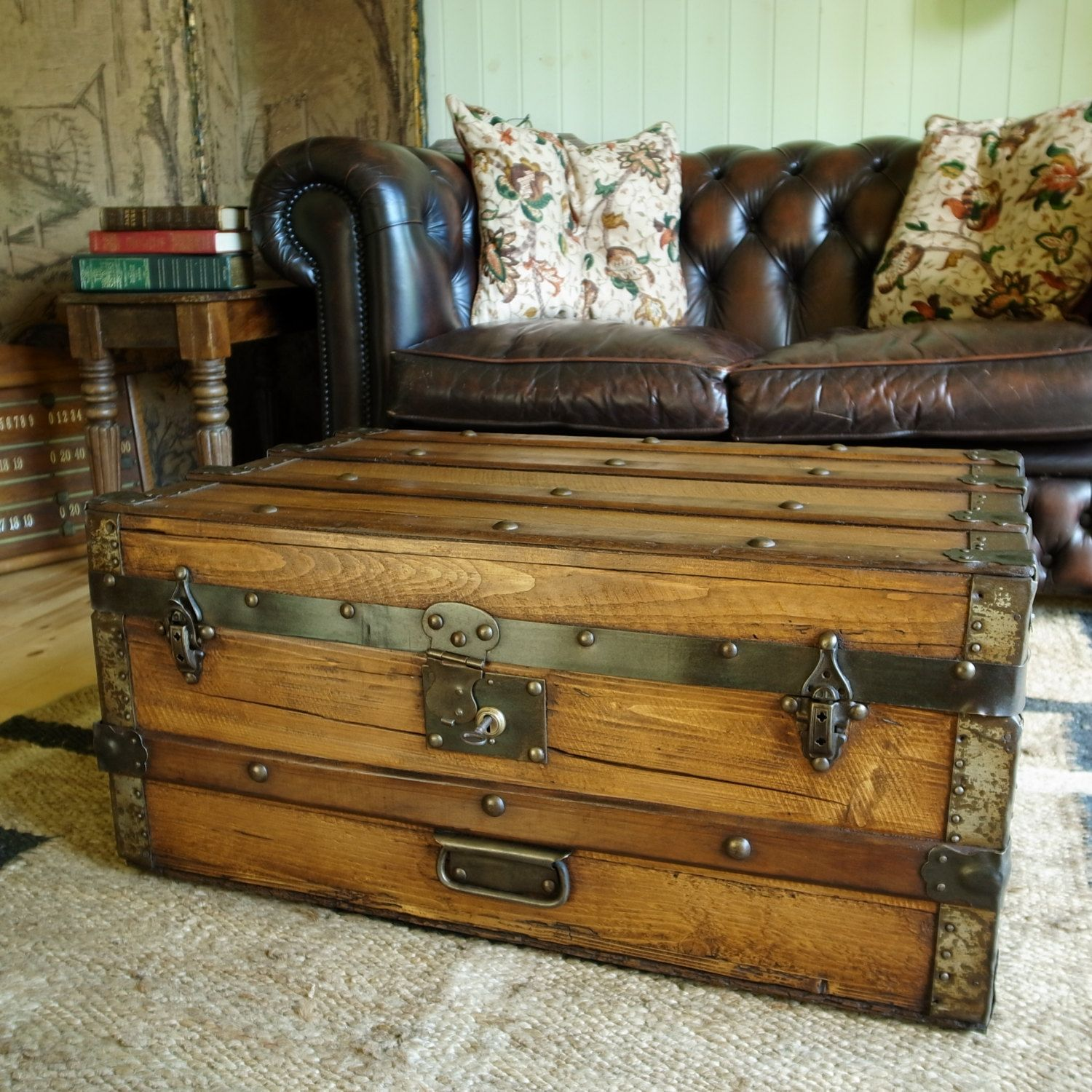 VINTAGE STEAMER TRUNK Table Antique Victorian Travel Trunk Storage