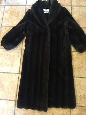 MONTEREY FASHIONS FAUX MINK FUR LONG FULL LENGTH WOMEN SMALL DARK     MONTEREY FASHIONS FAUX MINK FUR LONG FULL LENGTH WOMEN SMALL DARK BROWN  COAT NEW   eBay