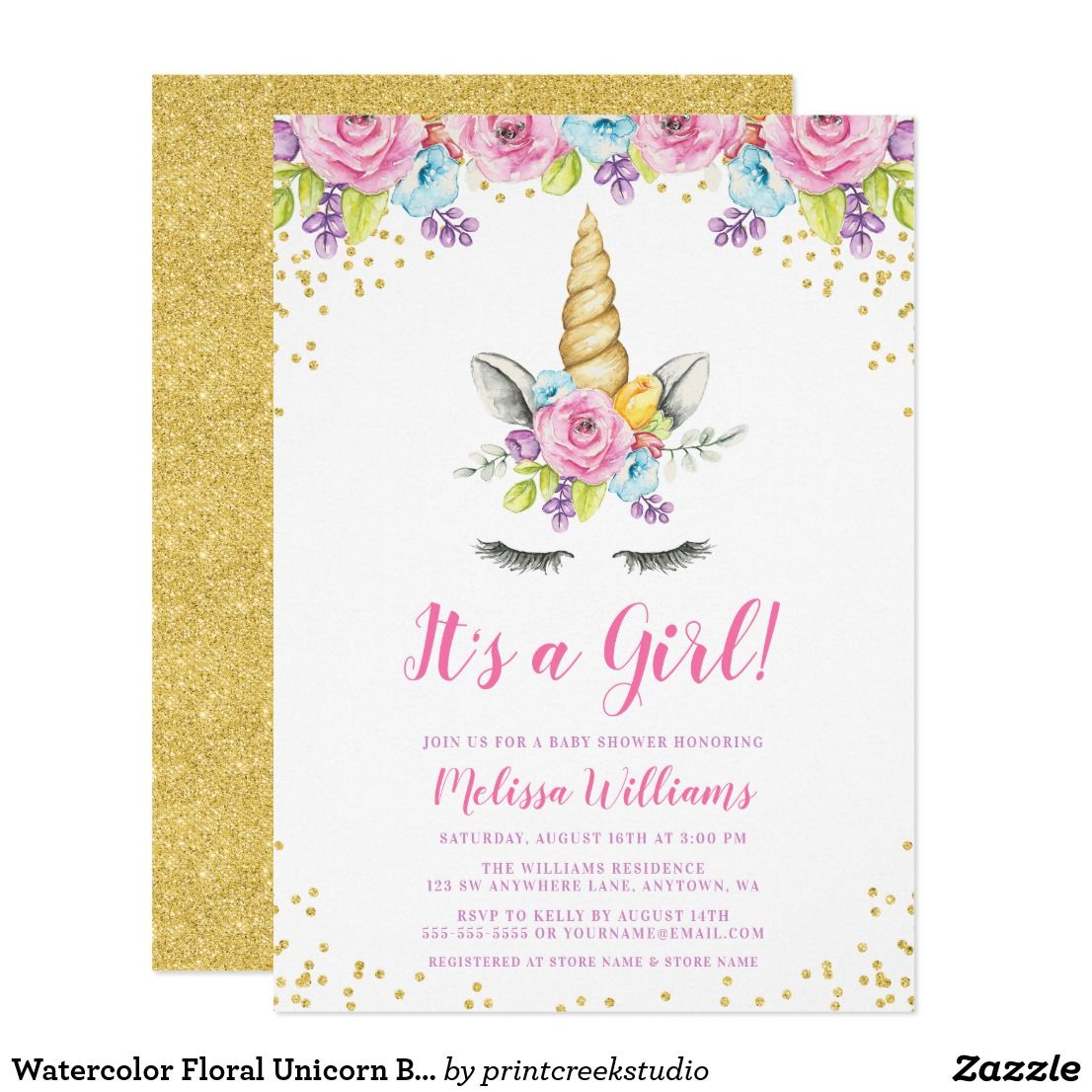 PERSONALISED FLORAL UNICORN THEMED BIRTHDAY CARD ANY NAME OR AGE DAUGTER ETC
