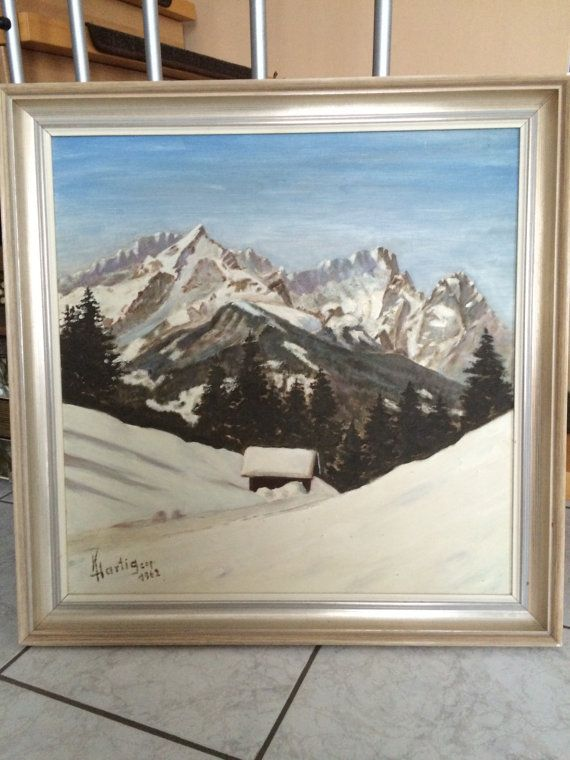 Framed Oil painting on Canvas-Snowy German Mountains-Alps | I\'d hang ...