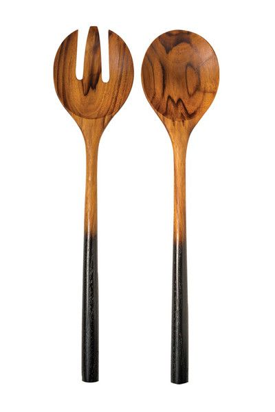 Teak Salad Server Set with Black Handles by Be Home #artisanmade #sustainable