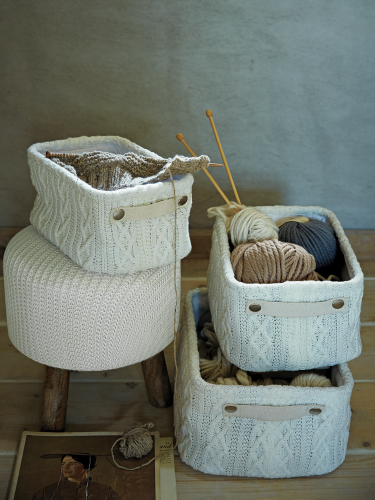 3 Knitted Storage Boxes. £45 Cox And Cox