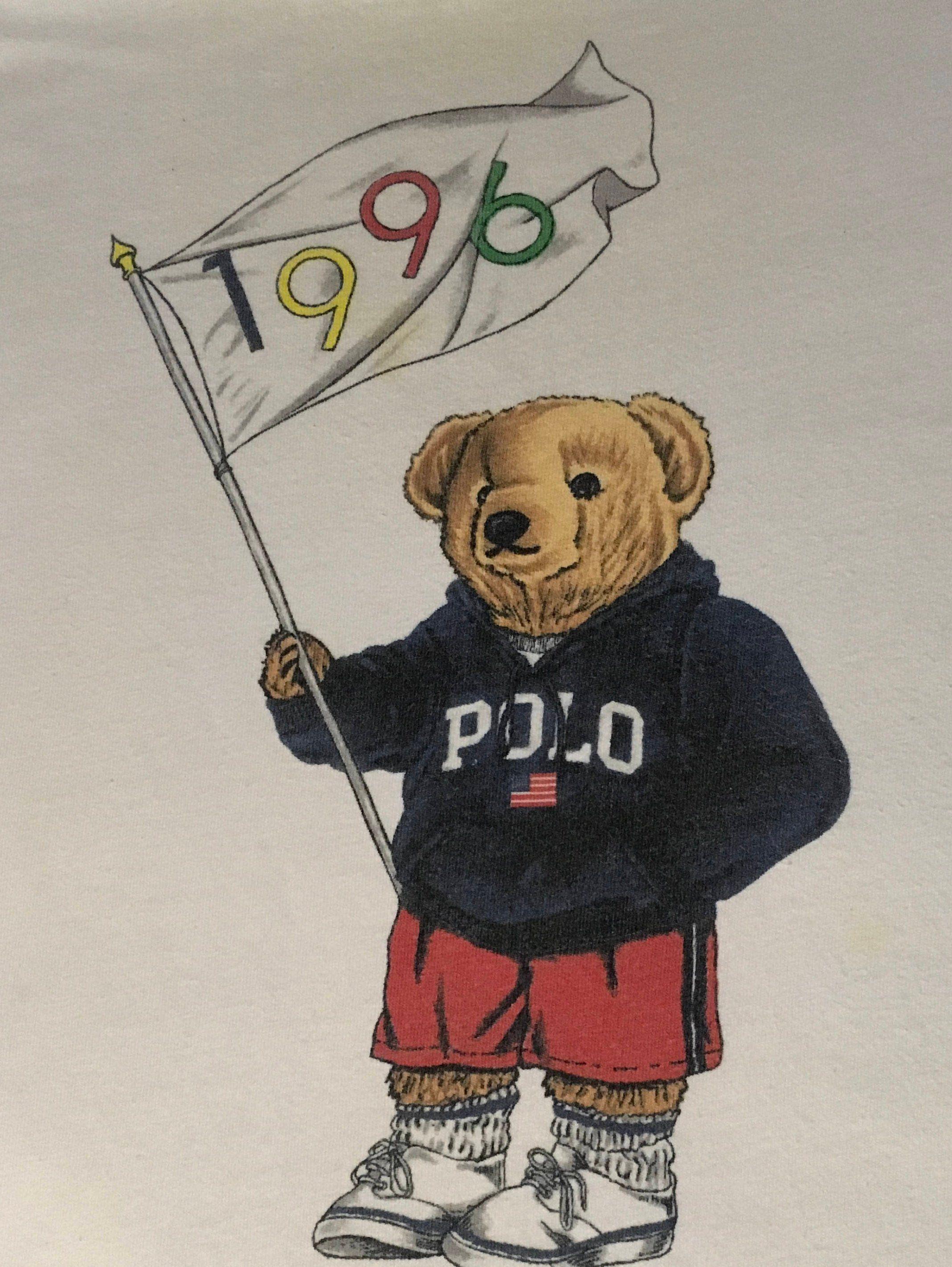 540f46c9 Ralph Lauren 1996 Olympics Polo Bear T Shirt Hip Hop Streetwear ...