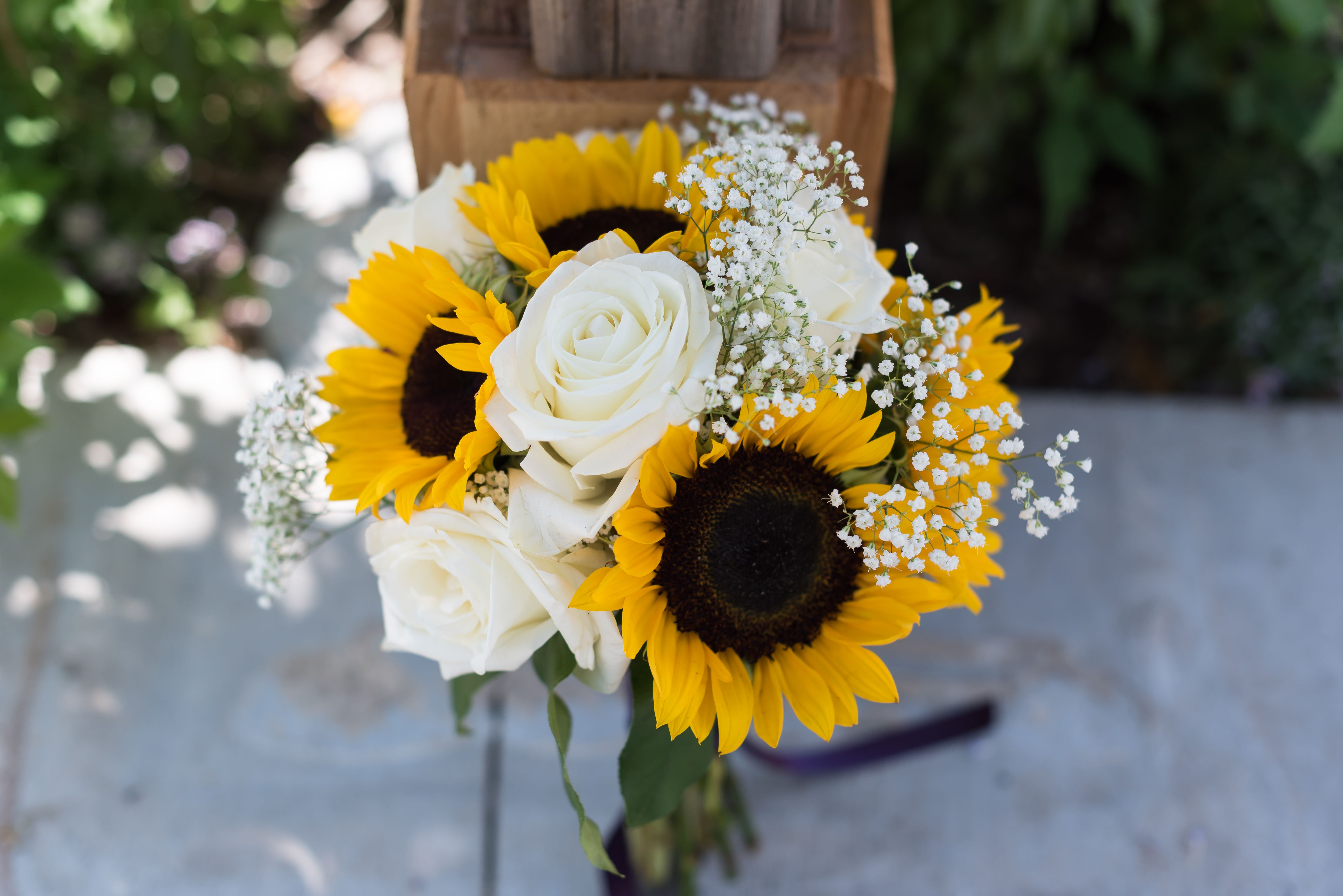 Sunflower And White Rose Bridal Bouquet Dreaming Of Someday In