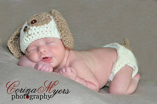 Baby puppy hat and diaper cover pattern by Cozy Critter Patterns ...