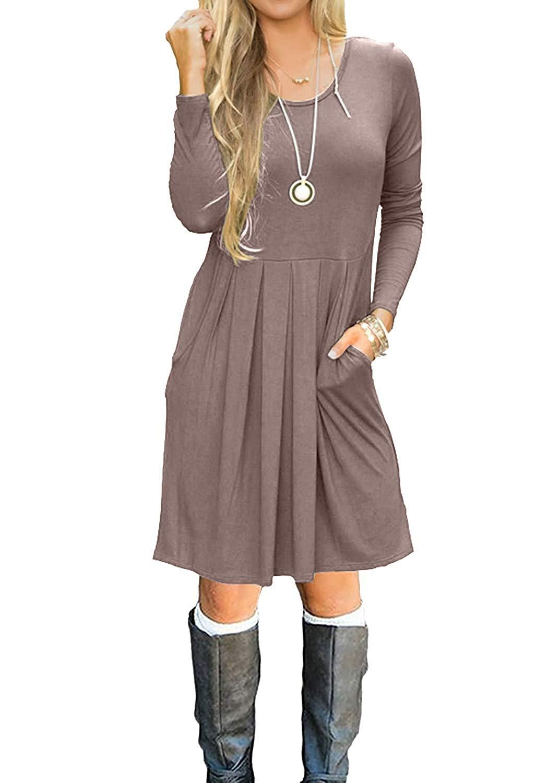 983c85b1d03d Simier Fariry Women Long Sleeve Pockets Pleated Loose Swing Casual Short T  Shirt Dress