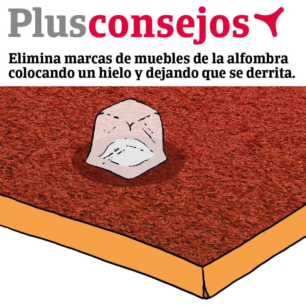 Un hielo puede eliminar marcas de muebles de las alfombras. @SegPlusUltra #LifeHack