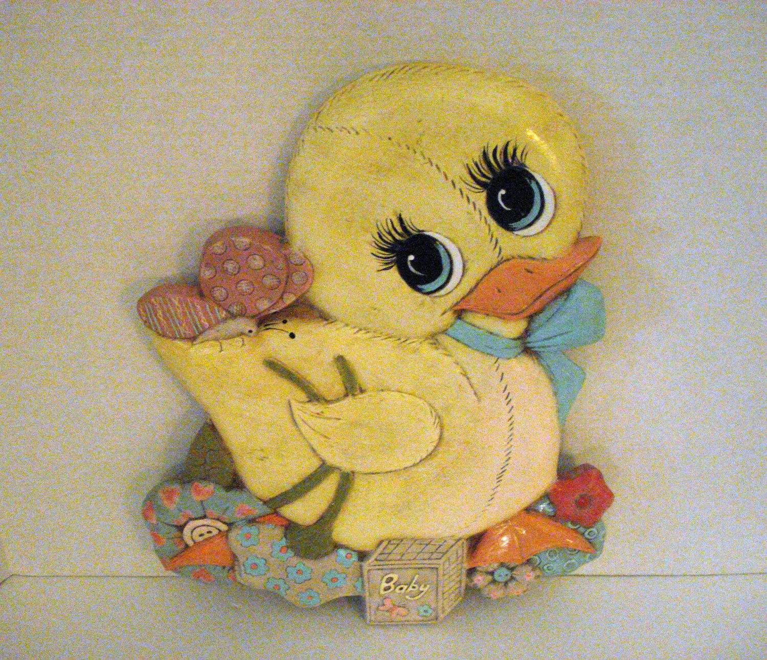 vintage nursery accents | Vintage Wall Plaque Ceramic Baby Chick ...