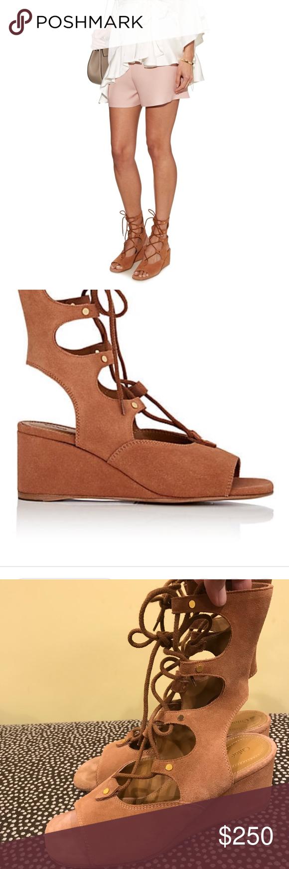 6911096aed5 Chloe Foster Suede Gladiator Wedge Sandals Crafted camel suede kidskin