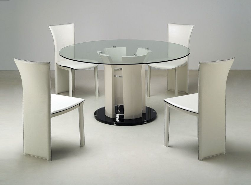 Superb Marvellous Design Ideas Of Dinette Table With Round Shape Glass Top And  White Black Metal Base Leg Also Combine With White Armless Chairs With High  Backs.