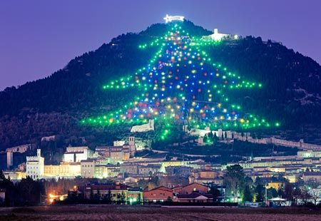the worlds largest christmas tree display rises up the slopes of monte ingino outside of gubbio in italys umbria region composed of about 500 lights - Worlds Largest Christmas Tree