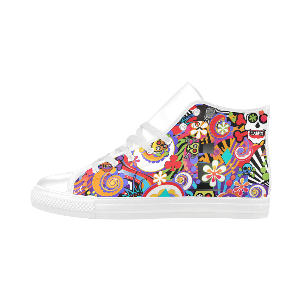 86fe01bdd09d Fun Sugar Skull Colorful Print Sneakers by Juleez Aquila High Top Action  Leather Women s Shoes Large Size (Model 032).