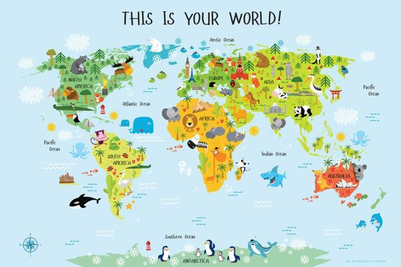 Children's World Map, Daycare Decor, Classroom Decor, Playroom Art