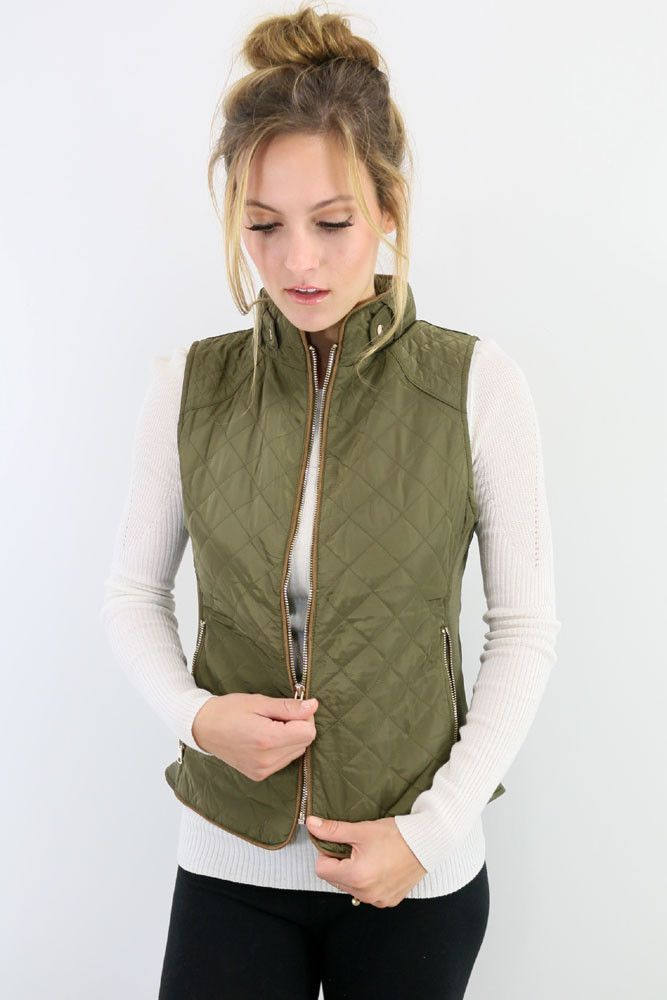 Mystic Forest Olive Quilted Puffer Vest With Contrast Trim – Amazing Lace