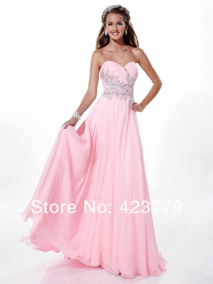 Encanto una línea de novia de longitud de gasa rosa Prom Vestidos ...