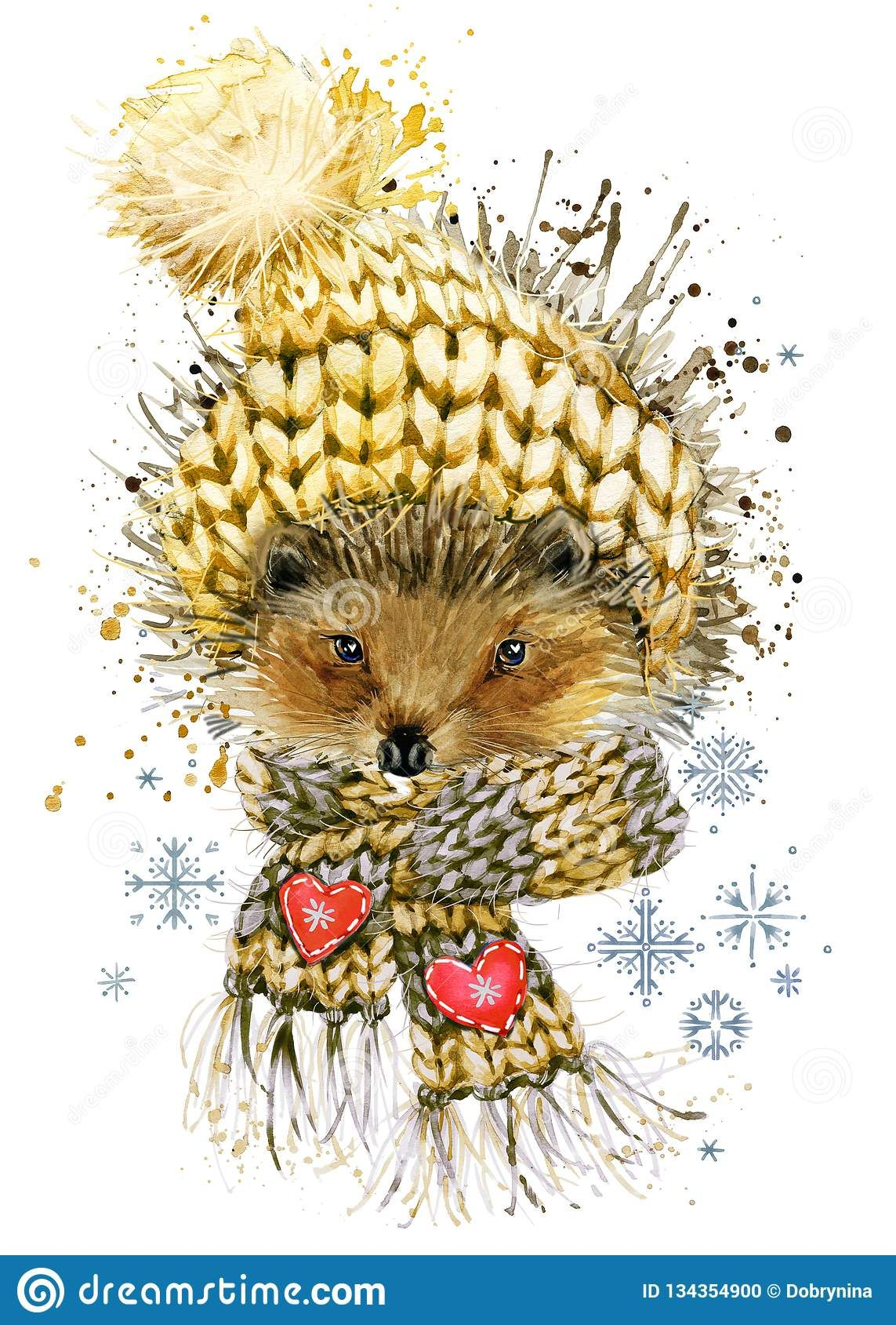 Hedgehog in a knitted hat with snowflake. watercolor