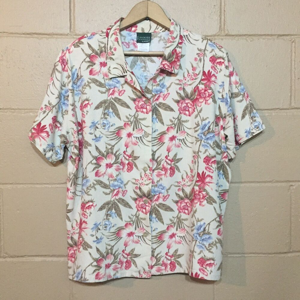 bfce0436 Country Classics by Koret Plus Size 20 Floral Shirt Rayon Linen Button  Blouse #Koret #