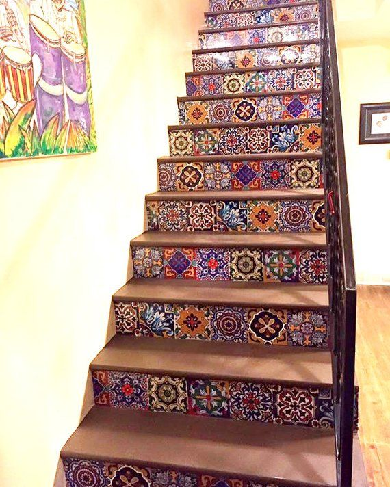 Photo of Stair riser stripe decal: Mexican style = 10 stripes 120cm long