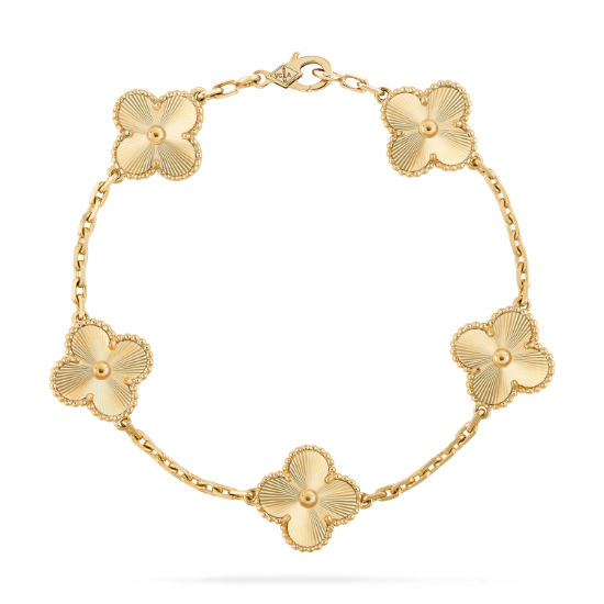 Vintage Alhambra Bracelet 5 Motifs Vcarp3jk00 Van Cleef Arpels Beaux Bijoux Bijoux Elegants Bijoux Anciens