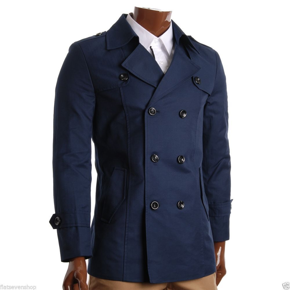 FLATSEVEN Mens Slim Fit Designer Casual Trench Coat (CT201) Collection #FLATSEVEN #Trench