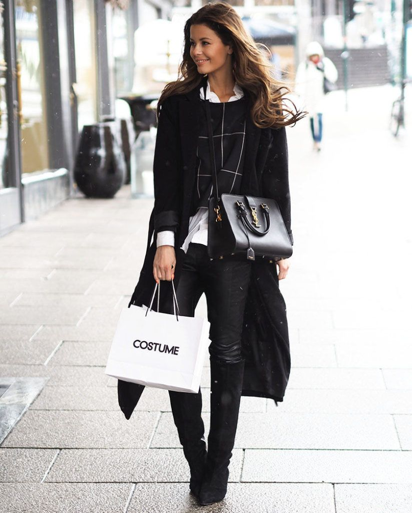 Winter Outfit Ideas  Annette Haga is wearing a black long coat and trousers  from Nelly 78d4756a6