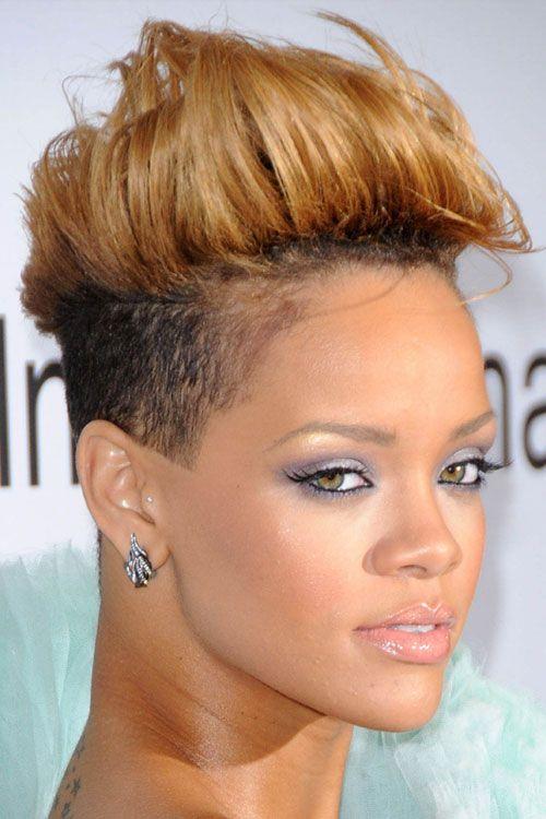Rihanna African American Honey Blonde Mohawk Hairstyle Haircut