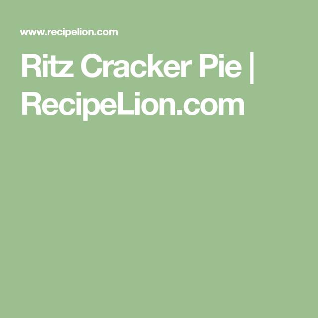 Ritz Cracker Pie | Recipe | Ritz crackers, Cracker recipes ...
