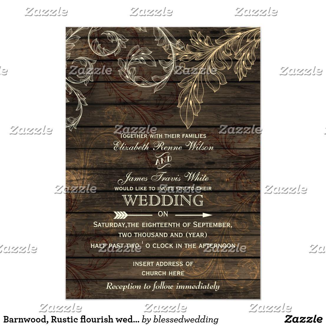 Barnwood, Rustic flourish wedding invitations | Flourish, Country ...