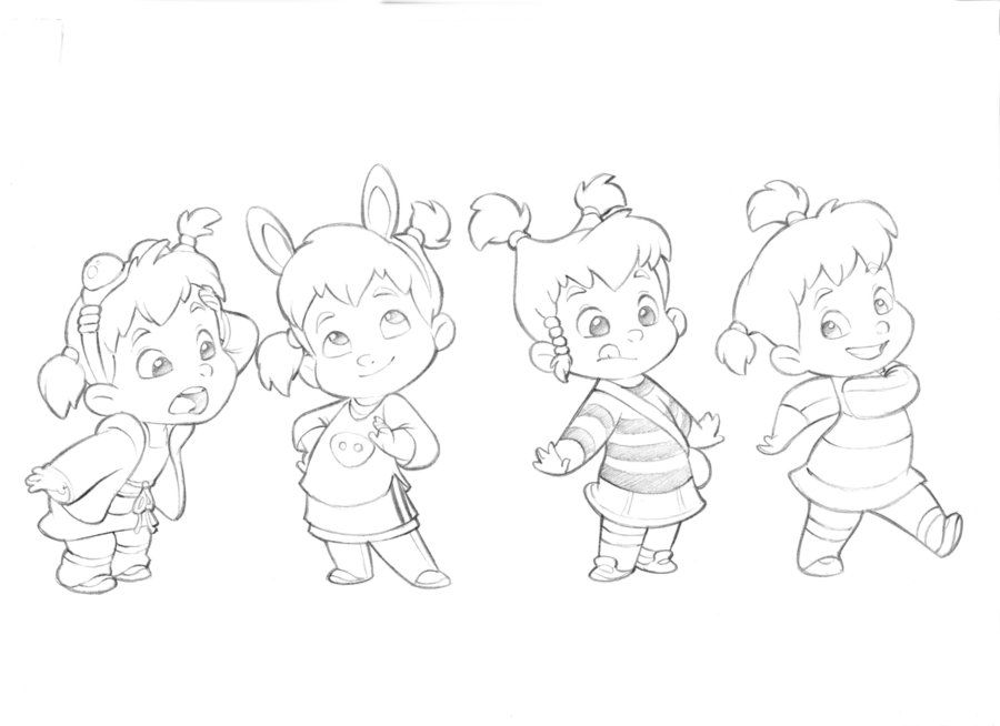 Character Design Quiz : Little girl character sketches test for mercury filmworks